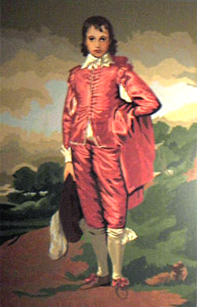 "Gainsborough's ""Blue Boy"" with a red suit"